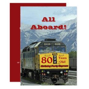 80th Birthday Party Railroad Train Engine Invitation