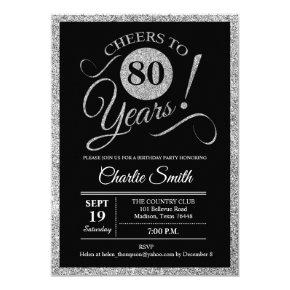 80th Birthday Party - Silver Black ANY AGE Invitation