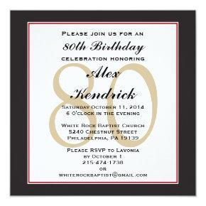 80th Birthday Party Square Invitation