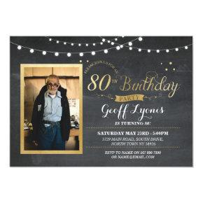 80th Birthday Photo Chalk Rustic Gold Invitation