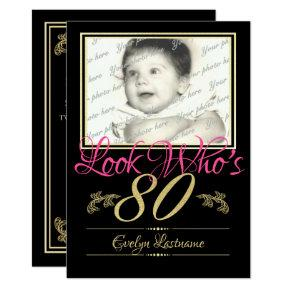 80th Birthday Photo Invitation