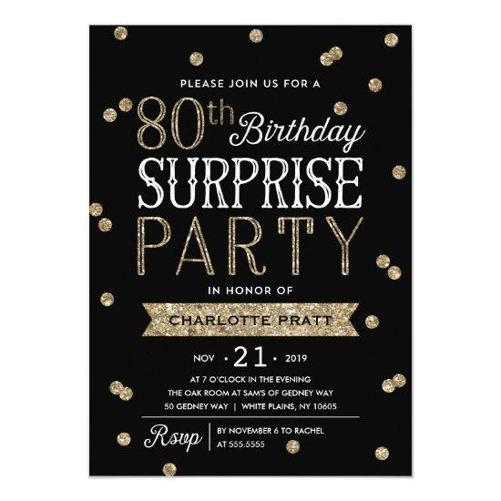 80th Glitter Confetti Surprise Party Invitation