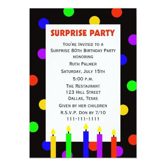 80th Surprise Birthday Party Invitation Dots