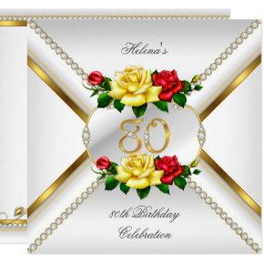 80th Women's Birthday Party Red Yellow Roses Card