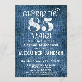 85th Birthday Invitation Blue Linen Rustic Cheers