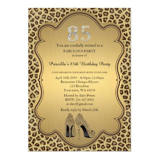 85th Birthday Invitation Numbers DiamondsCheetah