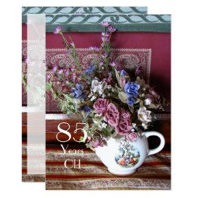 85th Birthday Party Invitation Vintage Teapot