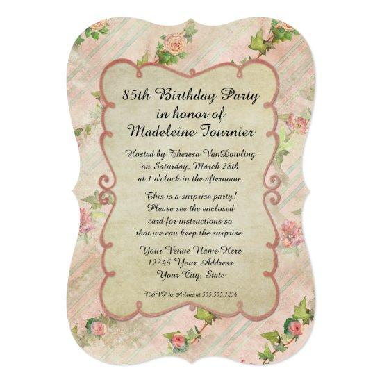 85th Birthday Party Scroll Frame W Vintage Roses Invitations