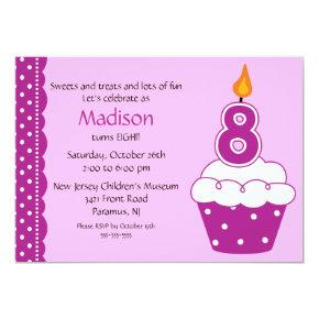 8th Birthday Cupcake Invitation