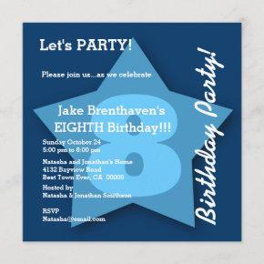 8th Birthday KIDS Eight Year Old Big Blue Star K08 Invitation