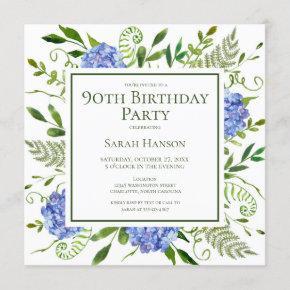 90th Birthday Blue Hydrangeas Floral Watercolor Invitation