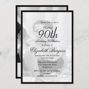 90th Birthday Elegant Photo Monogram Birthday Invitation