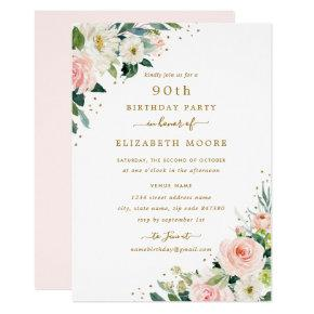90th Birthday Floral Blush Gold Invitation