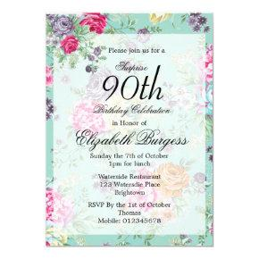 90th Birthday Floral Rose Personal Birthday Invitation