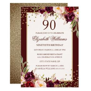 90th Birthday Gold Burgundy Floral Invitation