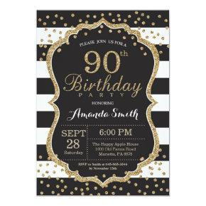 90th Birthday Invitation. Black and Gold Glitter Invitation