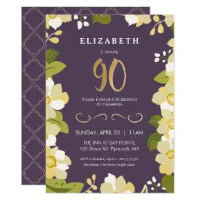 90th Birthday Invitation, Customize Floral w/ Gold Invitation