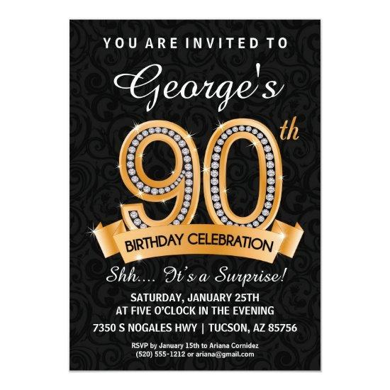 90th Birthday Invitations Diamond Milestone Invite