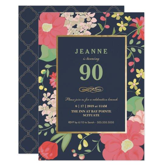 90th Birthday Invitations Gold Elegant Floral Candied Clouds