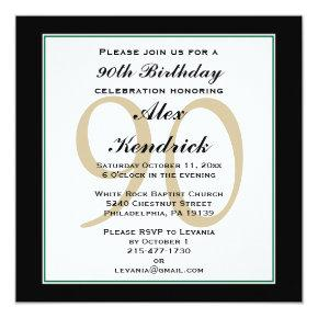 90th Birthday Invitation - Green Border