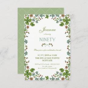 90th Birthday Invitation, Ninetieth Vintage Style Invitation
