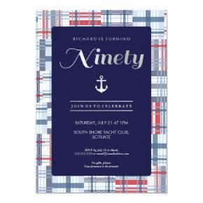 90th Birthday Invitation - Ninety, Nautical Summer