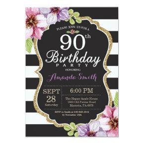 90th Birthday Invitation Women. Floral Gold Black