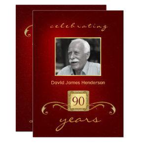 90th Birthday  - Monogram Red & Gold