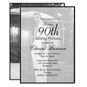 90th Birthday Male Stylish Photo Monogram Birthday Invitation