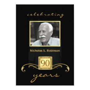 90th Birthday Party Black Gold - with photo Invitations