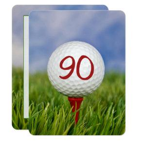 90th Birthday Party Golf theme Invitation