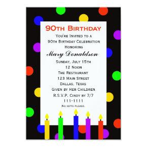 90th Birthday Party Invitation Candles and Dots