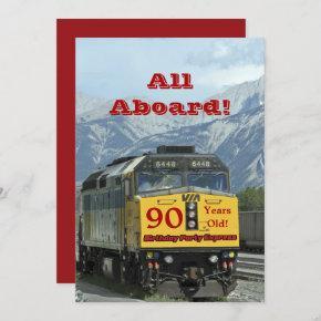 90th Birthday Party Railroad Train Engine Invitation