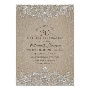 90th Birthday Party Rustic Burlap Pearls and Lace Card