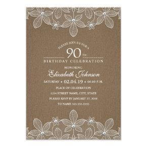 90th Birthday Party Rustic Burlap Pearls and Lace Invitation