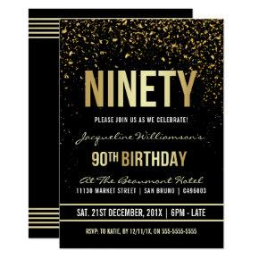 90th Birthday Party | Shimmering Gold Confetti Invitation
