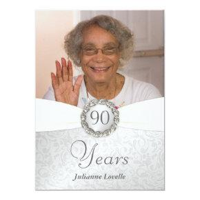 90th Birthday Photo Invitations - Silver & White