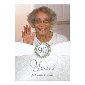 90th Birthday Photo  - Silver & White