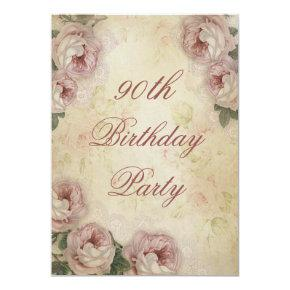 90th Birthday Shabby Chic Roses and Lace Invitation