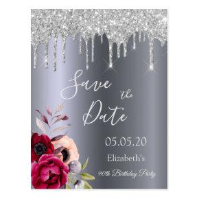 90th birthday silver glitter drips Save the Date Post