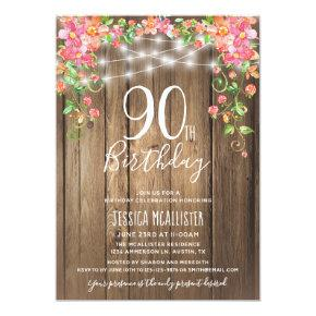 90th Birthday Surprise Brunch Rustic Floral Wood Invitation