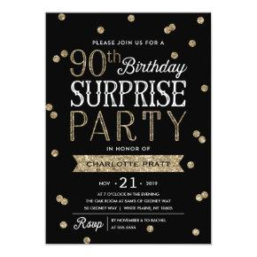90th Glitter Confetti Surprise Party Invitations