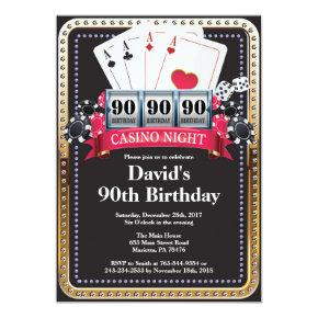 90th Poker Playing  Casino Birthday invitation