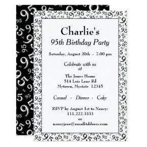 95th Birthday Party Theme Black And White Pattern Invitation