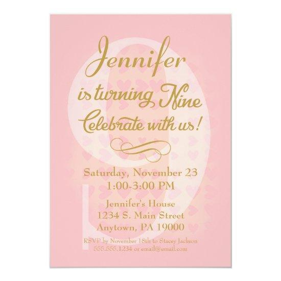 9th birthday invitations girls pink gold hearts candied clouds 9th birthday invitations girls pink gold hearts filmwisefo