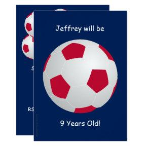 9th Birthday Party Invitations Soccer Ball
