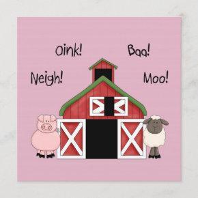 A Barnyard Birthday - Farm-themed Girl Invitation