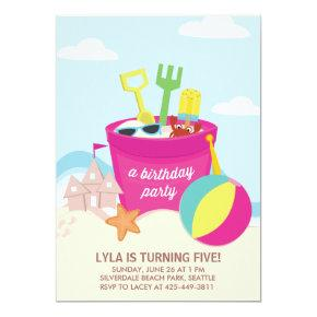 A Beach Party Kid's birthday Party Invitations
