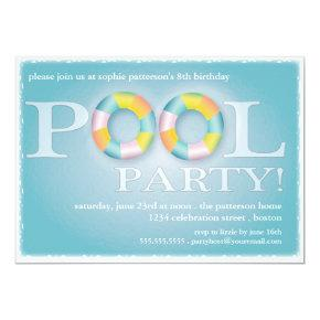 A Birthday Pool Party Floating Tubes in the Water Invitation