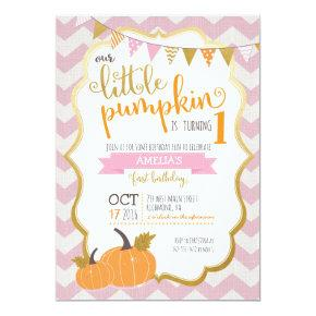 A Little Pumpkin First Birthday Invitations